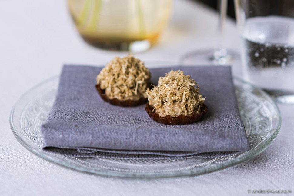 Chestnut tart with pickled chanterelles, portobello cream, and Swedish truffles.