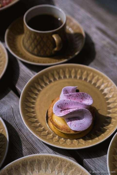 Lemon tart with blueberry meringue.