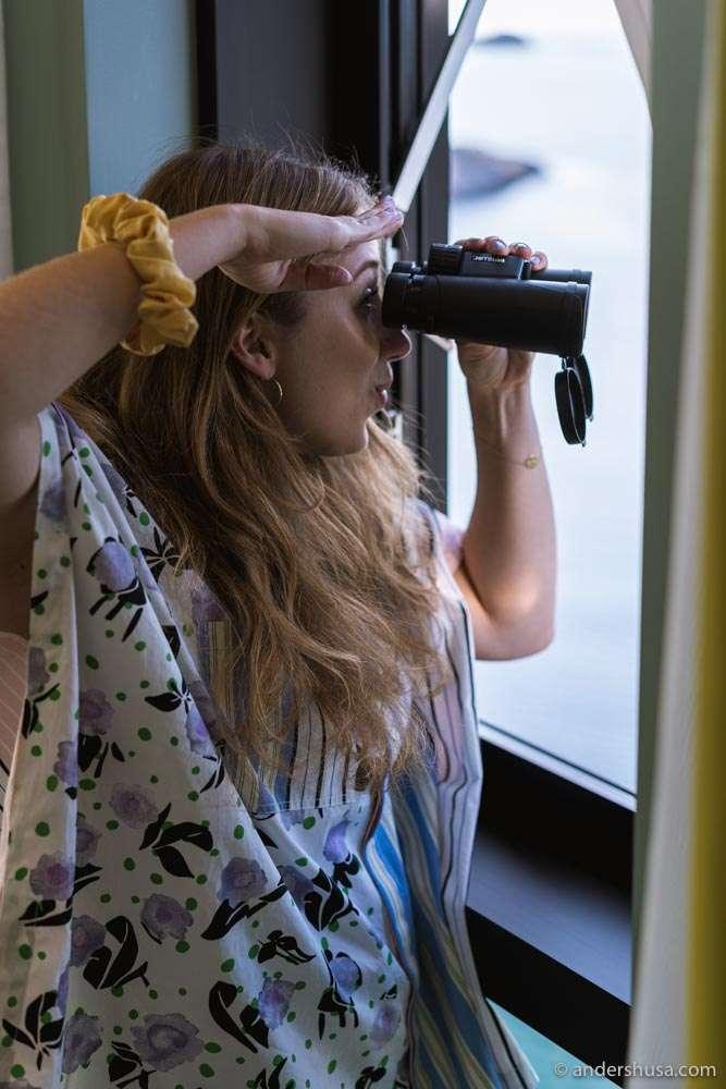 Every room has a pair of binoculars.