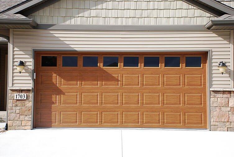 Traditional brown garage door in Hyrum, Utah