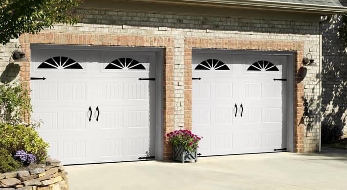 white Hillcrest residential garage doors