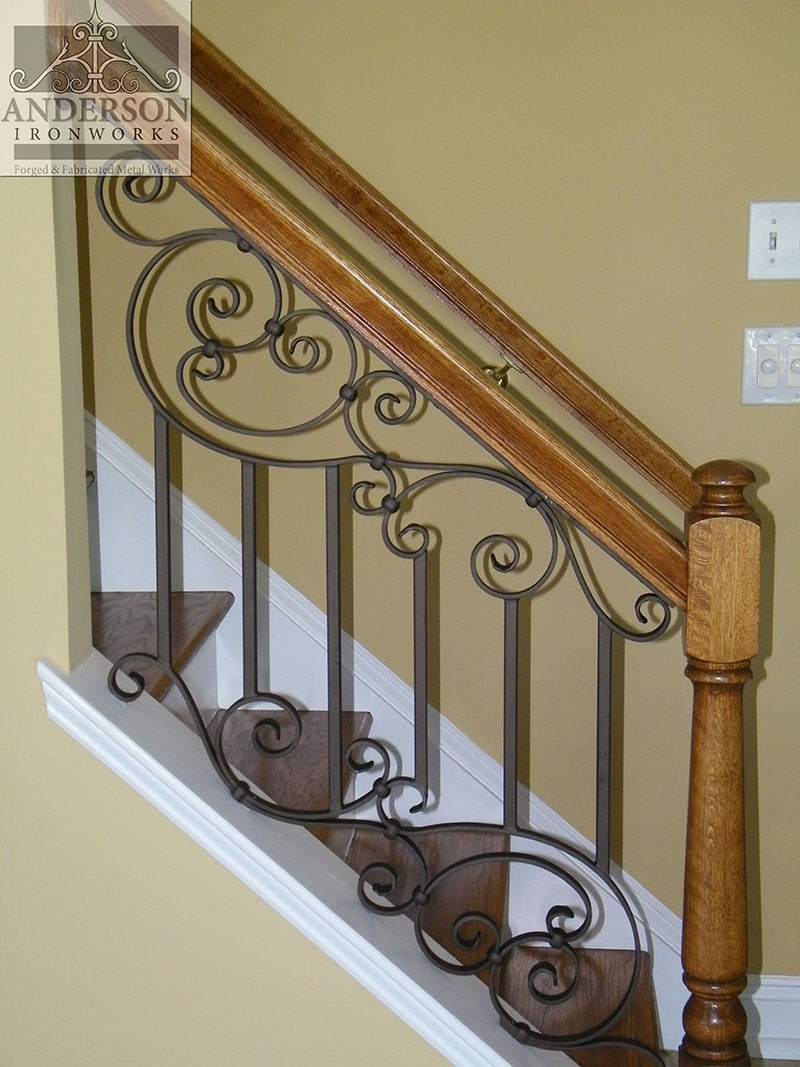 Wrought Iron Railing Custom And Pre Designed Anderson Ironworks   Metal Railing With Wood Handrail   Horizontal Metal   Stair Railings   Flat Bar   Stair Parts   Wrought Iron Balusters