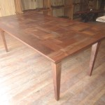 "Quilted Claro Walnut Dining Table, 42.5""W x 84""L x 30""H, $7,999"