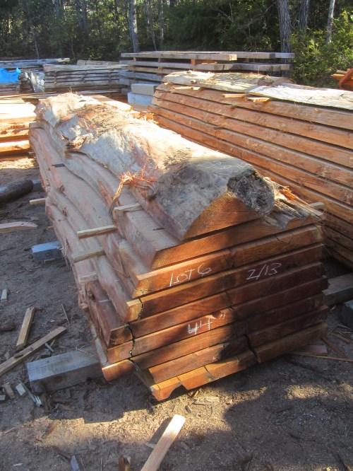 Lot 6, Redwood, 44″W x 178″L, 2.75″ thick slabs.