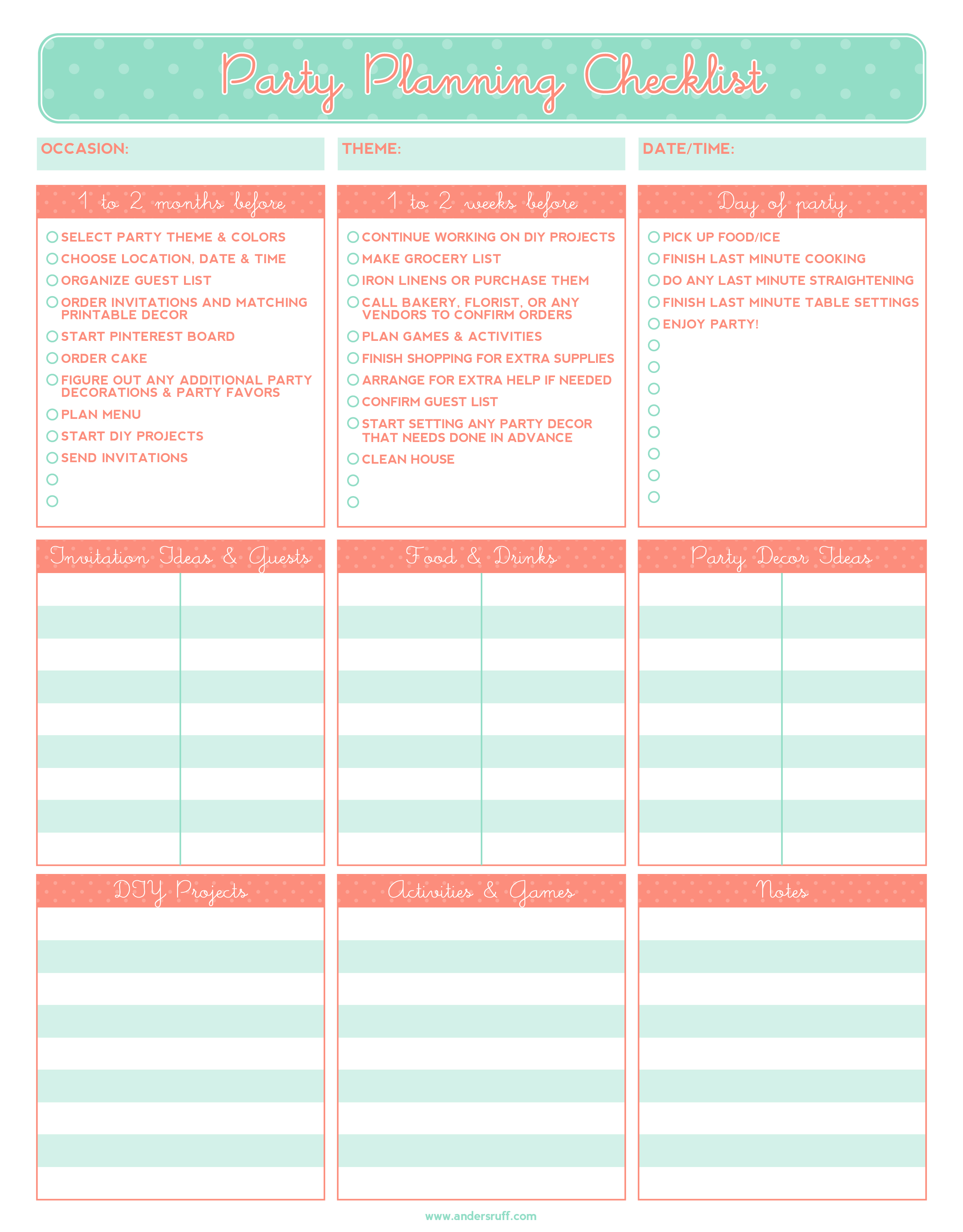 Ruff Draft Free Printable Party Planning Checklist