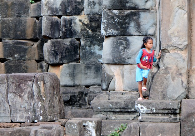 Children play on the temples.