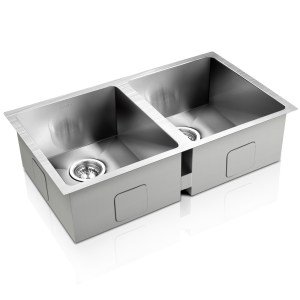 Cefito Stainless Steel Kitchen Sink 770X450MM Under/Topmount Laundry Double Bowl Silver