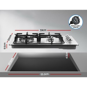 Kitchen Cooktop 4 Burner Gas 600mm - Stainless Steel