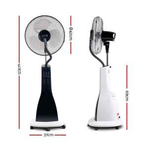 Fan Pedestal 42cm Misting Water Spray With Remote - White