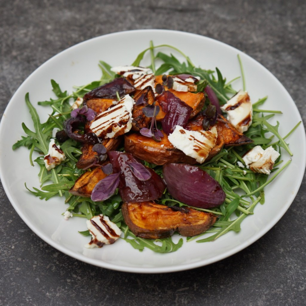 Salad of the Day : Paprika, Roasted Sweet Potato, Goats Cheese, Sweet Roasted Onions, Rocket and Balsamic Glaze