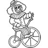 Clown on Bicycle Coloring