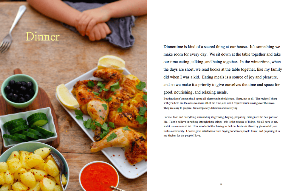 Dinner page from e-book