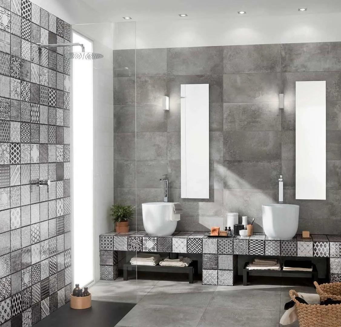 Piastrelle bagno cementine immagine di una stanza da bagno con doccia con ante lisce ante for Placcaggio cucina moderna