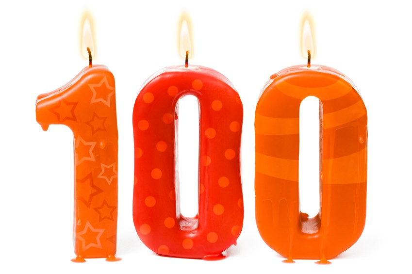 One hundredth 100 birthday or anniversary candles lit