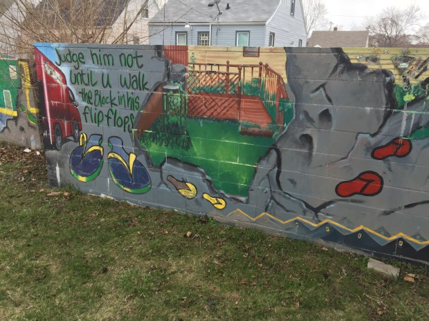 Murals on Birwood Wall in Detroit, Michigan