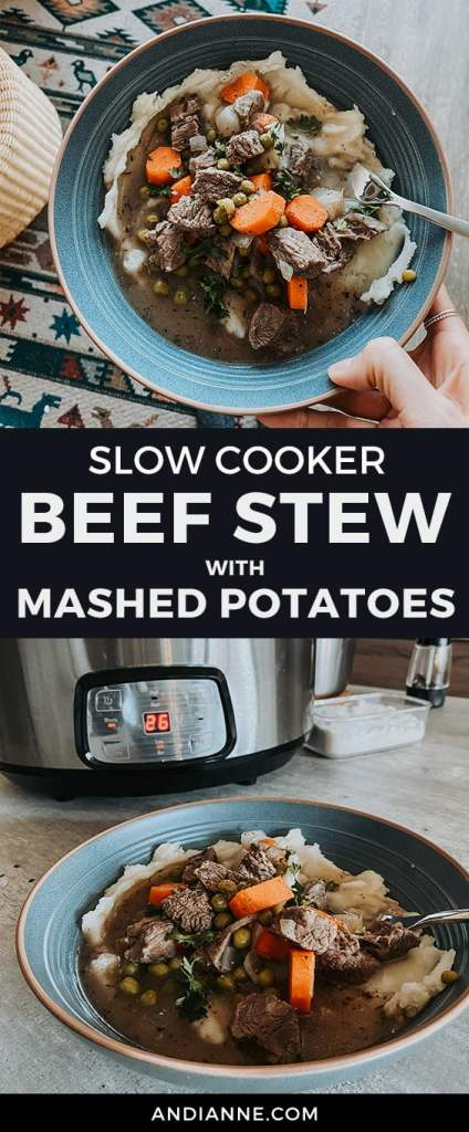 Slow cooker beef stew recipe served with mashed potatoes and made in the slow cooker