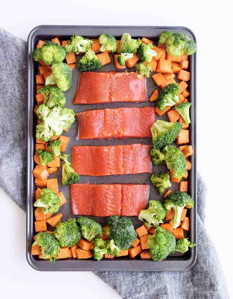 teriyaki salmon with roasted veggies sheet pan dinner