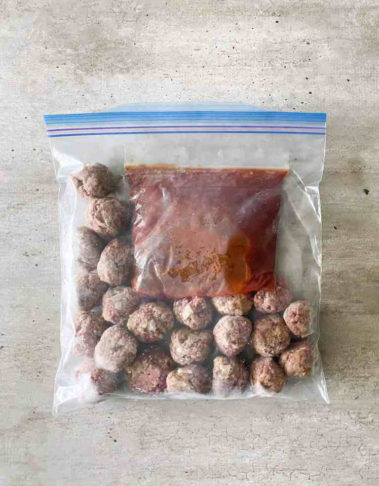 Barbecue Glazed Meatballs crockpot freezer Meal