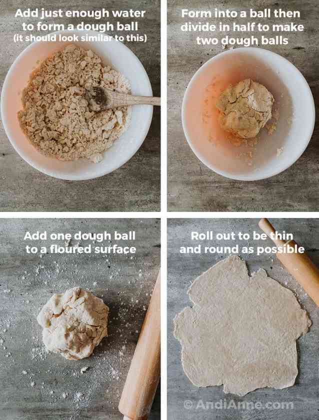 Four images together. Crumbly batter in bowl with spoon. Dough in a ball in the bowl. Dough on floured counter top with rolling pin. Dough rolled round with a rolling pin on counter.