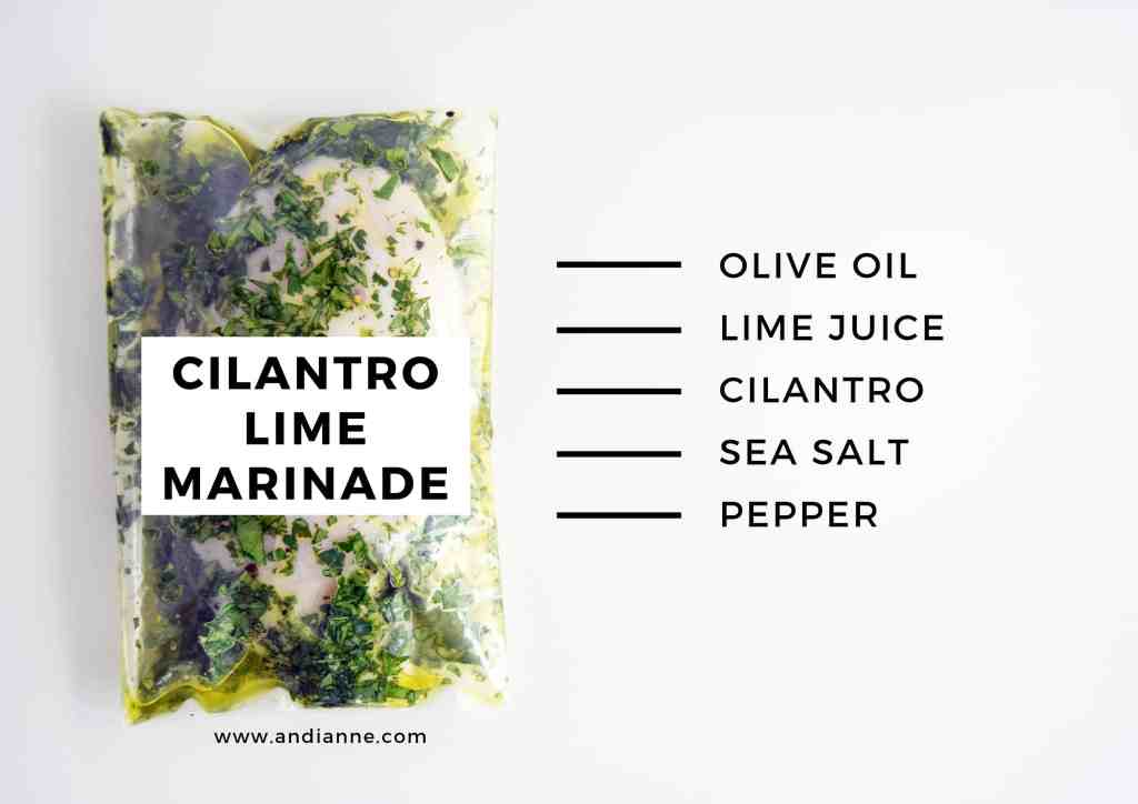 cilantro lime marinade recipe with raw chicken in a plastic bag