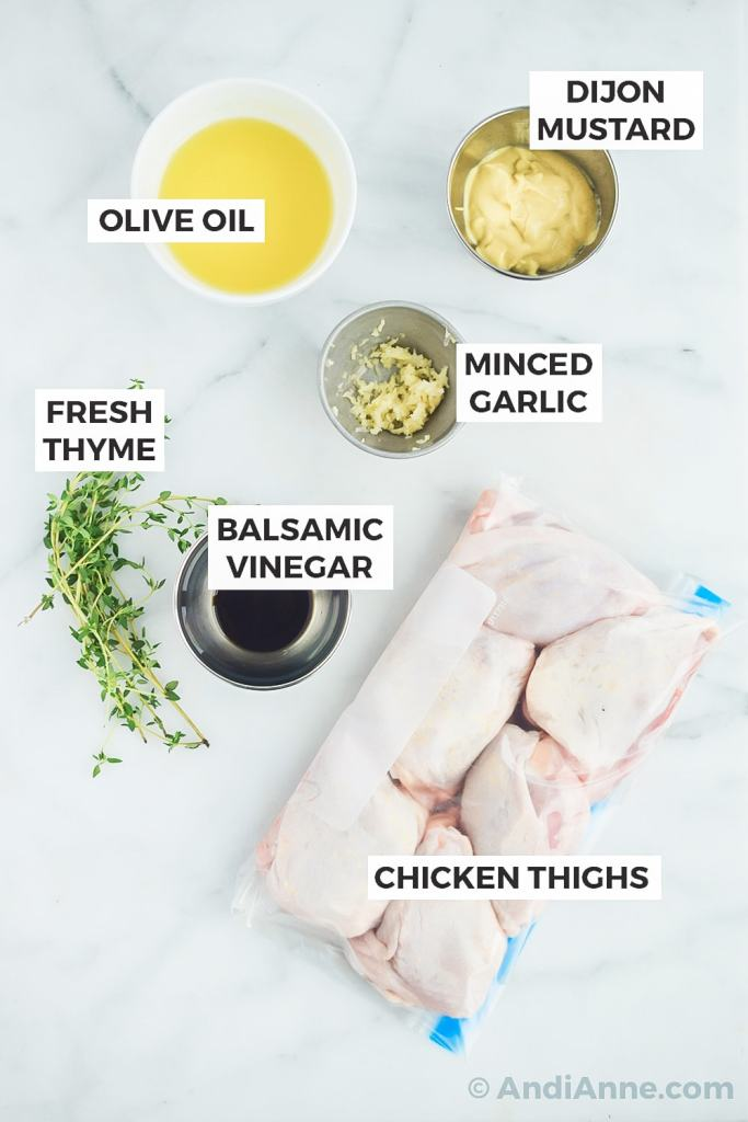recipe ingredients on a counter in separate bowls