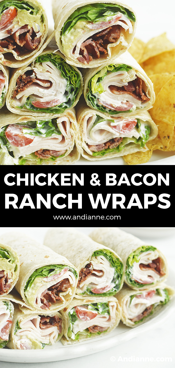 chicken bacon ranch wraps rolled together and stacked on a plate
