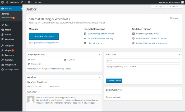 Cara Install WordPress Secara Manual Dashboard