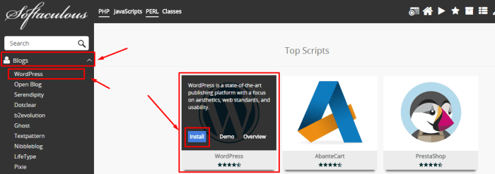 install wordpress softaculous apps installer 1