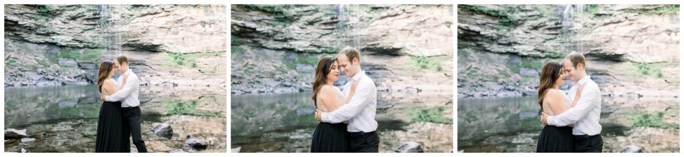 Couple embraces in front of waterfall | Petit Jean Engagement| Petit Jean State Park| Tulsa Wedding Photographer| Arkansas Engagement| Arkansas wedding photographer| Destination Wedding Photographer| Andi Bravo Photography| andibravophotography.com