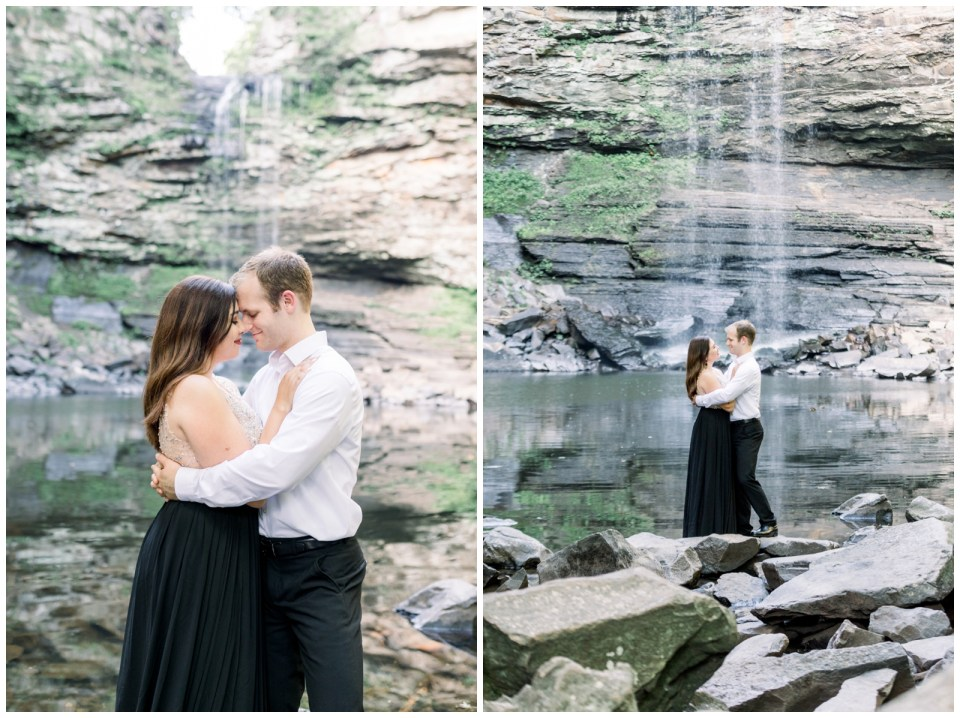 Couple stands together in front of waterfall |Petit Jean Engagement|Waterfall engagement|  Petit Jean State Park| Tulsa Wedding Photographer| Arkansas wedding photographer| Arkansas Engagement| Destination Wedding Photographer| Andi Bravo Photography| andibravophotography.com