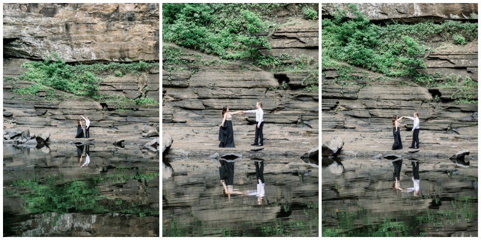 Couple dancing in front of rocks with reflection in pond |Petit Jean Engagement|Waterfall engagement| Arkansas wedding photographer| Petit Jean State Park| Tulsa Wedding Photographer| Arkansas Engagement| Destination Wedding Photographer| Andi Bravo Photography| andibravophotography.com