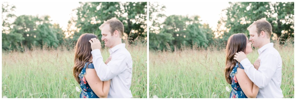 Couple smooching in a field |Petit Jean Engagement| Petit Jean State Park| Tulsa Wedding Photographer| Arkansas Engagement| Arkansas wedding photographer| Destination Wedding Photographer| Andi Bravo Photography| andibravophotography.com