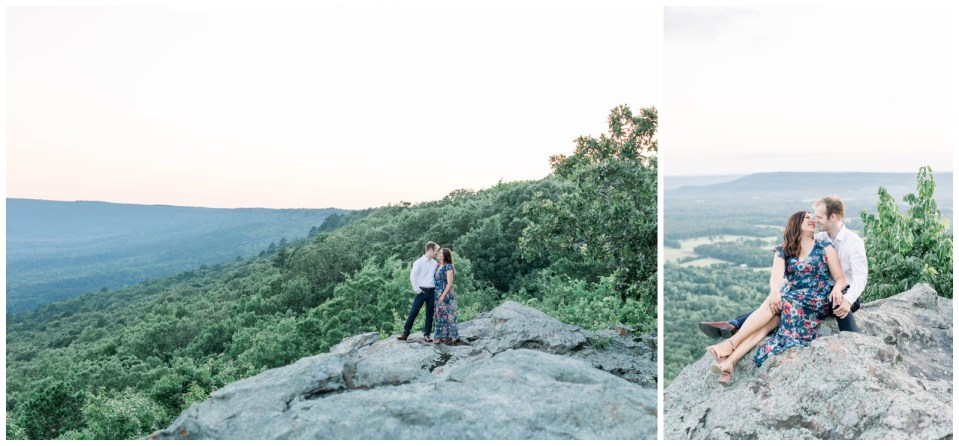 Couple snugging on mountainside| Petit Jean State Park Engagement| Arkansas engagement| Mountain engagement| Arkansas wedding photographer| Tulsa wedding photographer| Destination wedding photographer| Andi Bravo Photography| andibravophotography.com