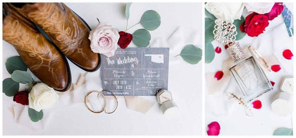 Rustic Wedding details- wedding boots-wedding perfume wedding invitation at PostOak Lodge in Tulsa, OK| Tulsa Wedding Photographer| PostOak Lodge Wedding| Destination Wedding Photographer| Andi Bravo Photography