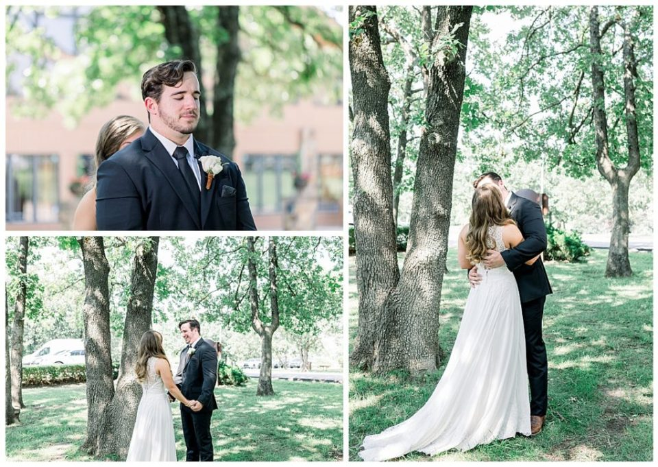 Groom sees his bride for the first time during first look at PostOak Lodge in Tulsa, OK  Tulsa Wedding Photographer  PostOak Lodge Wedding  Destination Wedding Photographer  Andi Bravo Photography