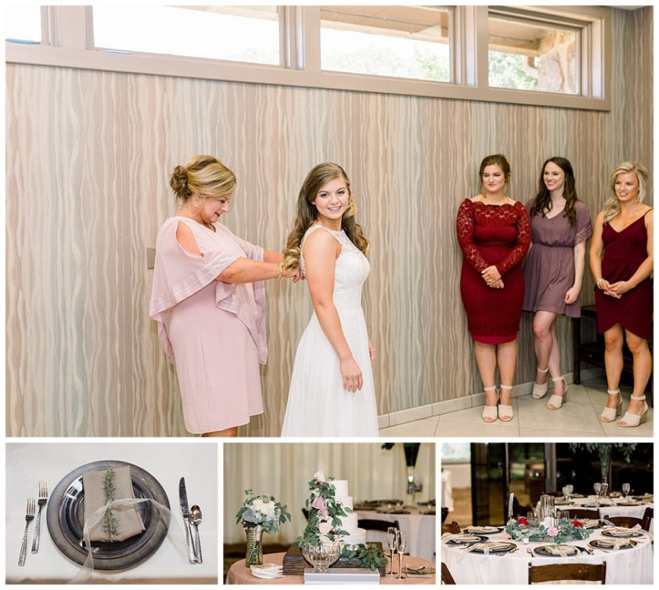Bride being zipped into her dress by mother at PostOak Lodge in Tulsa, OK| Tulsa Wedding Photographer| PostOak Lodge Wedding| Destination Wedding Photographer| Andi Bravo Photography