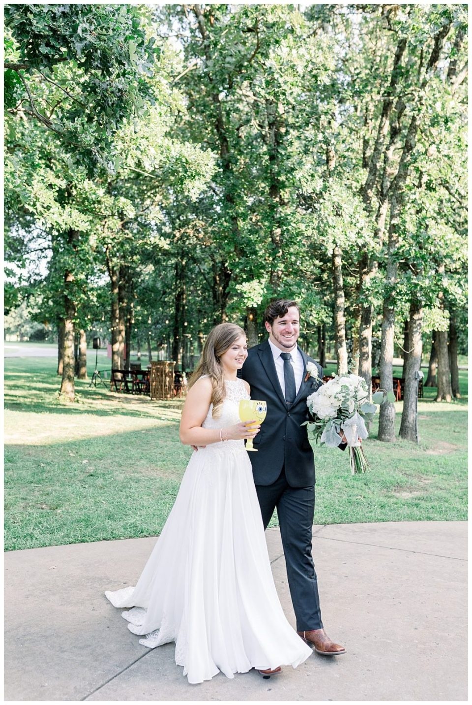 Bride and groom headed to wedding reception at PostOak Lodge in Tulsa, OK  Tulsa Wedding Photographer  PostOak Lodge Wedding  Destination Wedding Photographer  Andi Bravo Photography