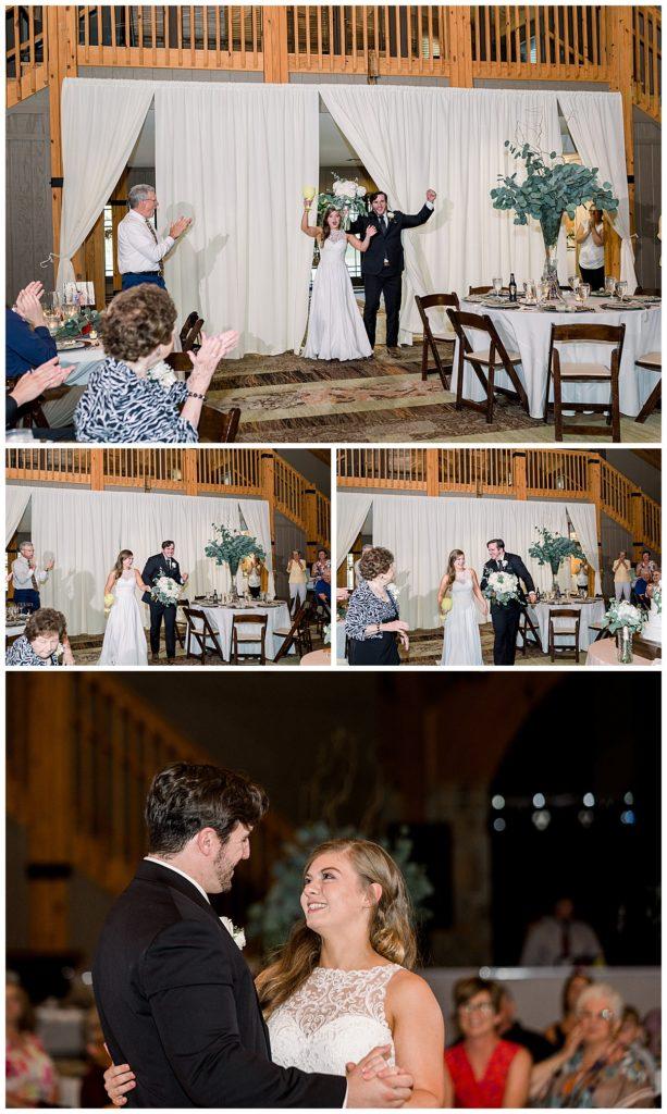 Bride and groom wedding reception entrance at PostOak Lodge in Tulsa, OK| Tulsa Wedding Photographer| PostOak Lodge Wedding| Destination Wedding Photographer| Andi Bravo Photography