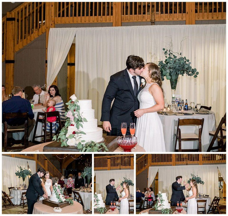 Bride and groom cut wedding cake at PostOak Lodge in Tulsa, OK| Tulsa Wedding Photographer| PostOak Lodge Wedding| Destination Wedding Photographer| Andi Bravo Photography