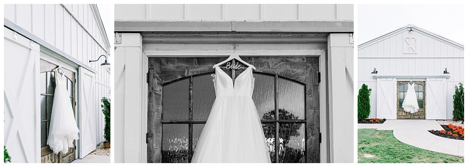 Wedding gown on barn doors| The View At Hillside Barn Wedding| Countryside Wedding|  Tulsa Wedding Photographer| Andi Bravo Photography