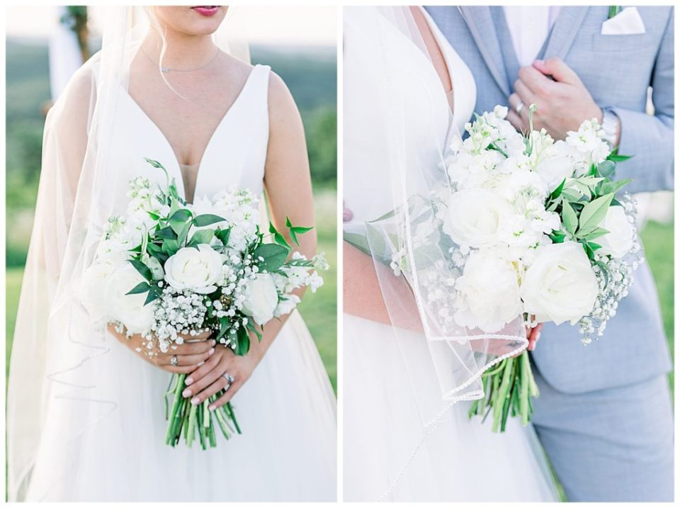 Close up on white bridal bouquet with groom in grey| The View At Hillside Barn Wedding| Countryside Wedding|  Tulsa Wedding Photographer| Andi Bravo Photography