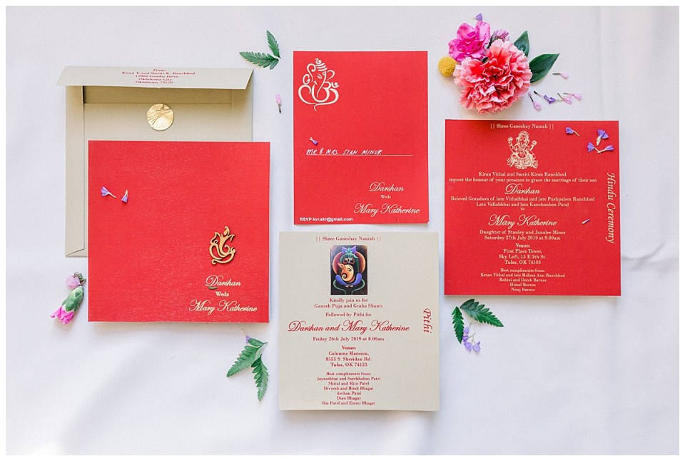 Indian wedding invitations| Indian Hindu Wedding Tulsa| Sky Loft at First Place Tower | Tulsa wedding photographer| Destination wedding photographer| Andi Bravo Photography