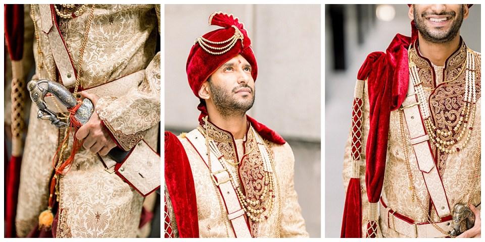 Close ups of groom's Hindu wedding attire| Groom gold jewelry| Indian wedding sword| Tulsa Indian wedding| Tulsa, Oklahoma photographer| Andi Bravo Photography