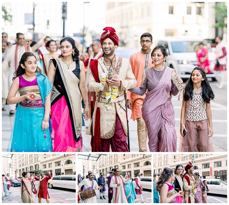 Groom, family and ceremonial party walking down sidewalk| Hindu Indian wedding Tulsa| Sky Loft at First Place Tower | Tulsa wedding photographer| Andi Bravo Photography
