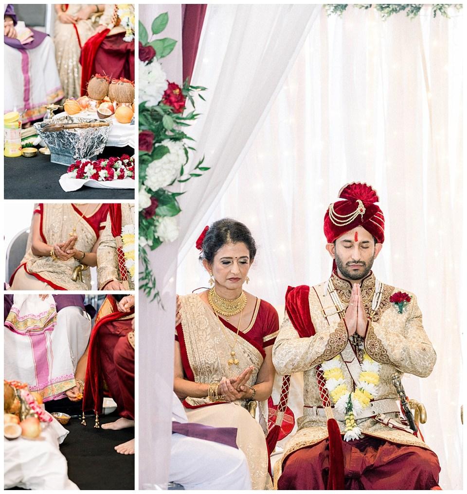 Groom and his mother praying before Hindu wedding ceremony| Tulsa wedding photographer| Andi Bravo Photography