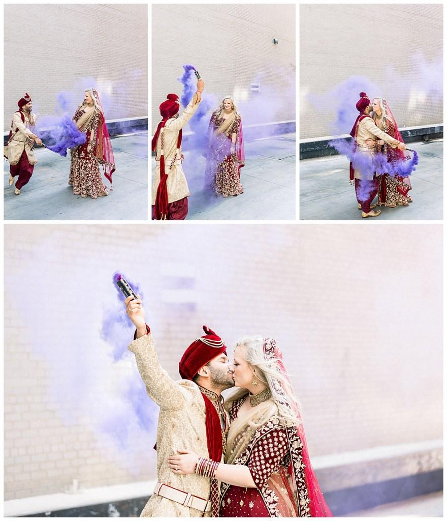 Indian groom and his bride dancing in purple smoke| Purple smoke bomb| Hindu wedding Tulsa| Indian wedding Tulsa| fun bride and groom photos| Tulsa wedding| Tulsa wedding photographer| Andi Bravo Photography