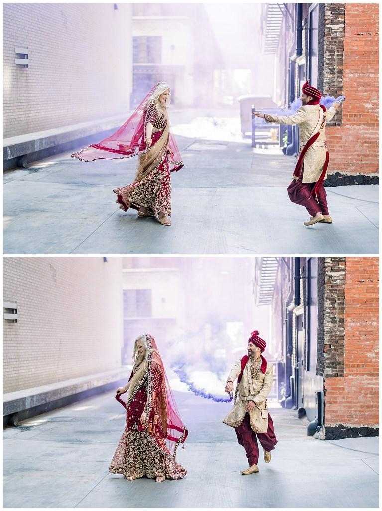 Groom dances around bride with purple smoke| Hindu wedding Tulsa| Indian wedding Tulsa| Tulsa wedding photographer| Andi Bravo Photography