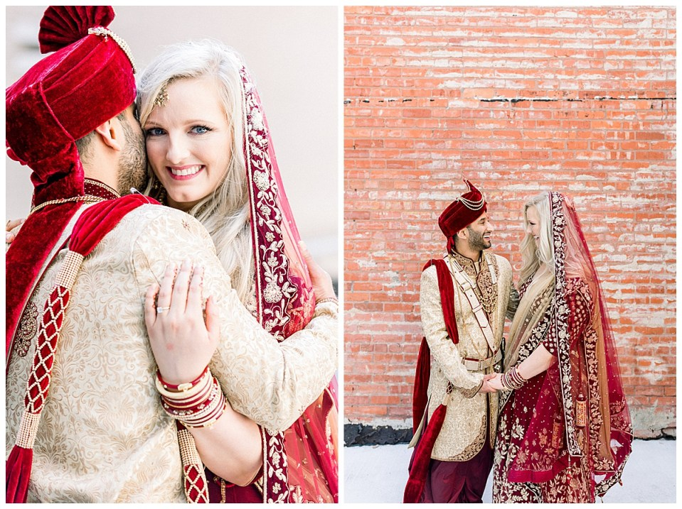 Bride smiles at camera over groom's shoulder and then looks at groom while holding hands and laughing| Tulsa wedding photographer| Hindu wedding| Andi Bravo Photography
