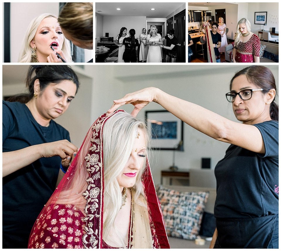 Bride getting ready in ceremonial Indian Hindu wedding veil| Indian wedding Tulsa| Tulsa Wedding photography| Andi Bravo Photography