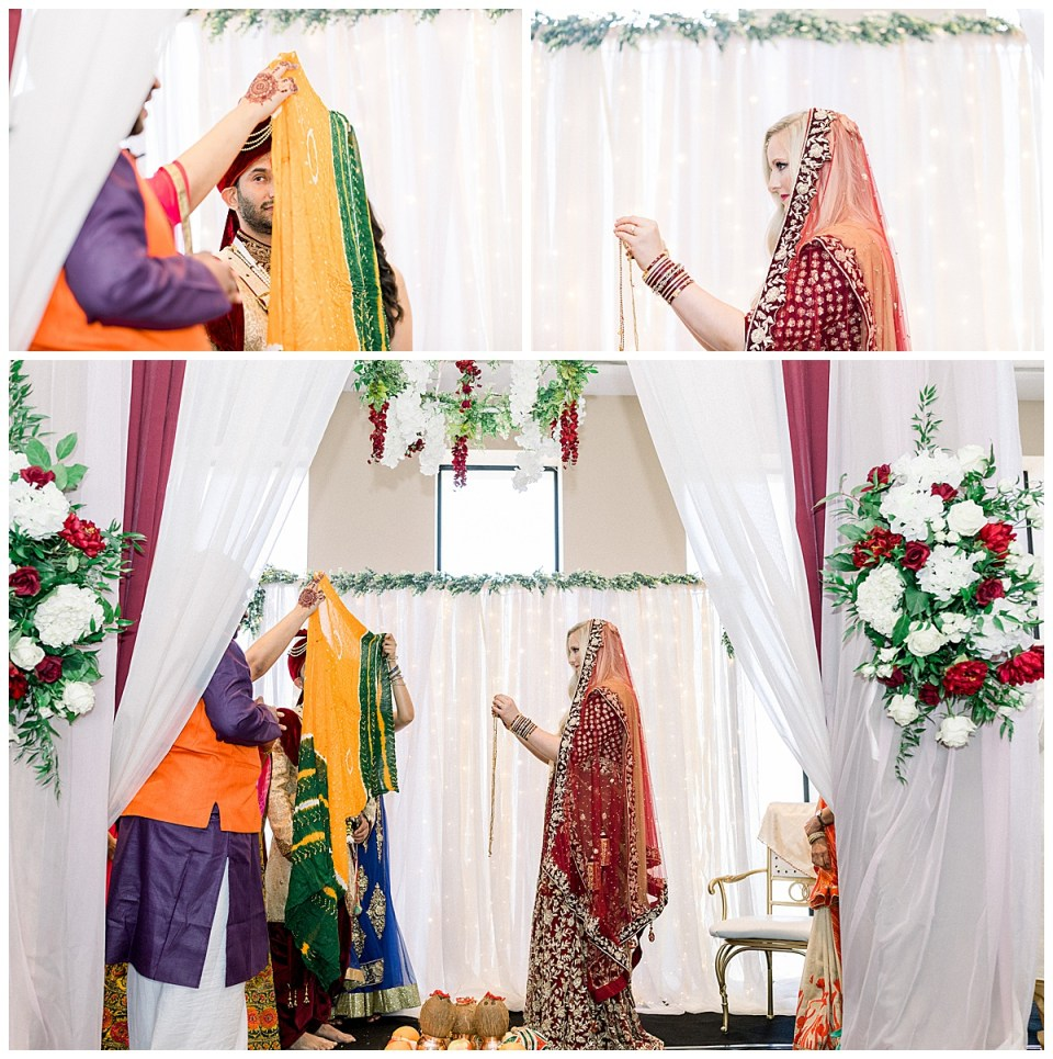 Groom hides behind veil at Hindu wedding Ceremony| Tulsa Hindu Indian ceremony| Sky Loft at First Place Tower| Tulsa wedding venue| Tulsa wedding photographer| Andi Bravo Photography